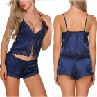 2 Pcs/set Women Pajamas Set Lace Satin Sleepwear Summer Nightwear Sexy Lingerie Pyjamas Tops+Shorts  blue_M