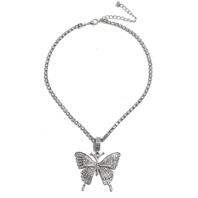 2 Pcs/set Women's Necklace Ins Style Butterfly-shape Diamond-mounted Double-deck Necklace Silver set
