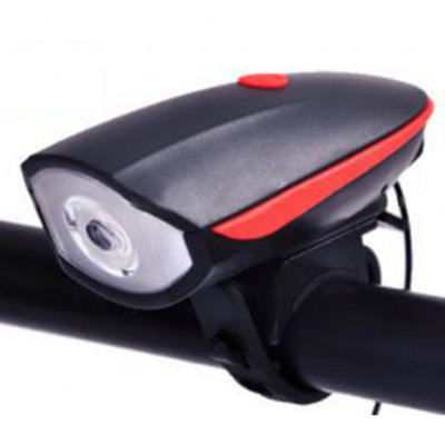2 in 1 Bike Light LED Flashlight with Bell Horn Road Cycling Headlight Bicycle Accessories Charging red