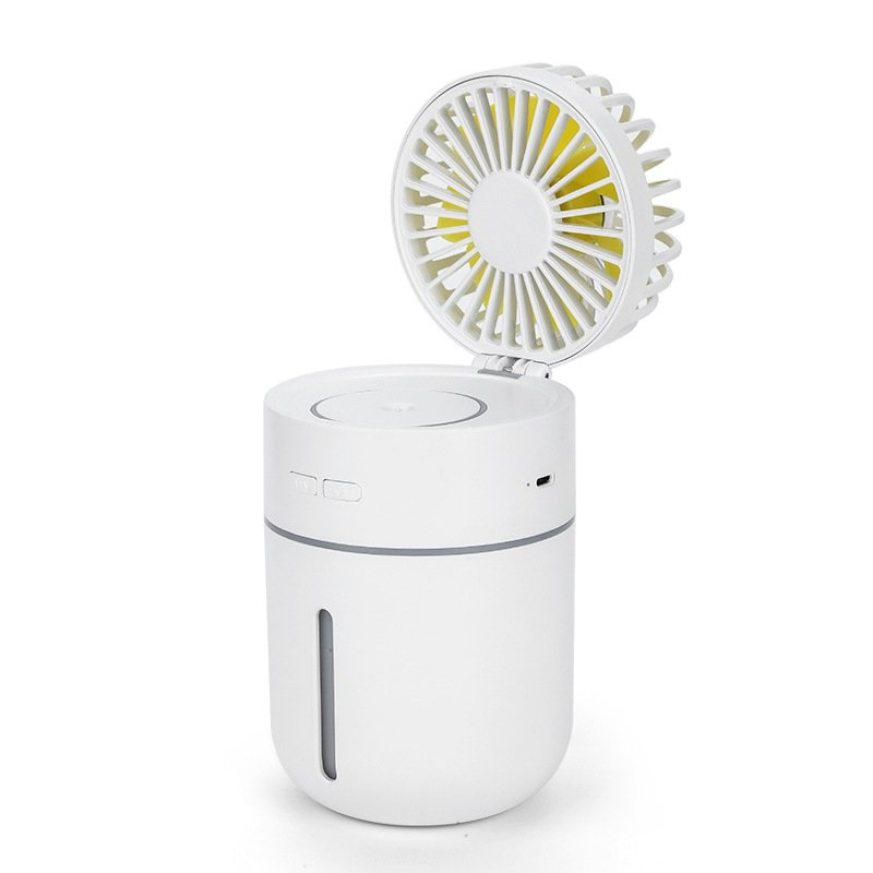 2 in 1 USB Rechargeable Vehicle-mounted Air Humidifier Mini Fan white_94*90*157mm