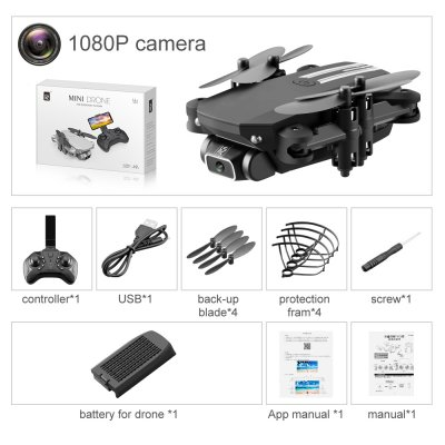 2020 LS-MIN New Mini Drone 4K 1080P HD Camera WiFi Fpv Air Pressure Altitude Hold Black And Gray Foldable Quadcopter RC Drone Toy Black-color box-1080P pixels