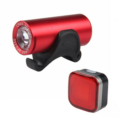 2289+2287 Bicycle Lamp Set USB Charging Hard Light Front Lamp Safety Precautions Tail Lamp Headlight red + tail light silver