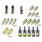 23pcs/sets Vehicle Decoding Car LED Indoor Light Kit Double Point 5050 6 Lamp Indoor White Light Photo Color
