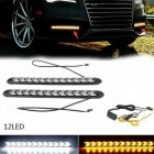 2PC LED Car Flexible DRL Switchback LED Knight Rider Strip Light Headlight Arrow Flasher DRL Turn Signal Waterproof White light to yellow light_12LED on black