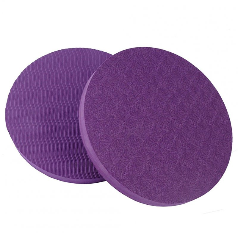 2PCS/Set Portable Round Knee Pad Yoga Mats Fitness Sprot Pad Plank Gym Disc Protective Pad Cushion purple_17.5cm in diameter