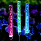 2Pcs LED Solor Lawn Lamp Colorful Outdoor Waterproof Acrylic Bubble Tube Light Colorful