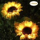 2Pcs LED Sunflower Style Lawn Lamp Outdoor Waterproof Courtyard Garden Lamp