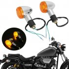 2Pcs Motorcycle Turn Signal Light Indicators Blinkers Amber Yellow