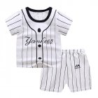 2Pcs/set Baby Suit Cotton T-shirt + Shorts Cartoon Short Sleeve for 6 Months-4 Years Kids Striped buckle_100 (65 yards)