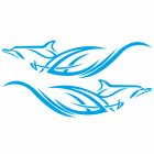 2pcs Car Stickers Dolphins Totem Auto Body Vinyl Long Decals Waterproof Striped Stickers Auto DIY Style Car Stickers blue