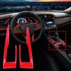 2pcs/set Carbon Fiber Gear Shift Frame Cover Trim For Honda Civic 10th 2016 2017 2018 Stoving varnish red