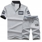 2pcs set Men Summer Suit Middle Length Trousers   Casual Sports T shirt gray L