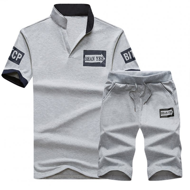 2pcs/set Men Summer Suit Middle Length Trousers + Casual Sports T-shirt gray_L