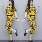 2pcs set Women Casual Suit short sleeved Top Long Pants Summer Fashion Wear Ladies Clothing yellow XL
