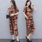 2pcs/set Women Casual Suit short-sleeved Top Long Pants Summer Fashion Wear Ladies Clothing Light Brown_M