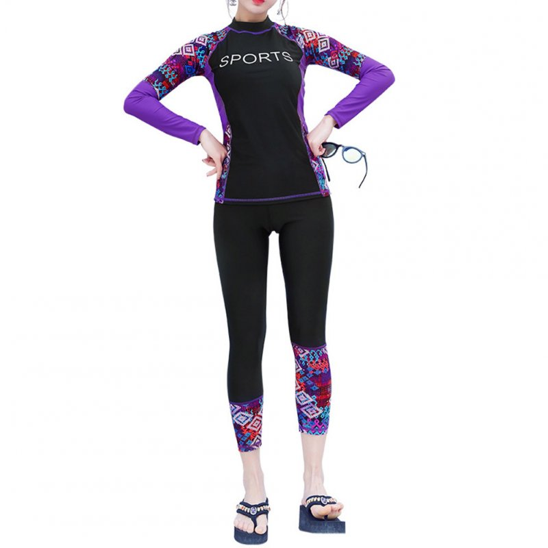 2pcs/set Women Long Sleeve Sunscreen Swimming Suit for Surf Diving Swimsuit black_M