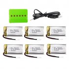 3.7V 550mah lithium battery for SP300 ZF04 gesture sensing quadcopter drone battery 6pcs+charger