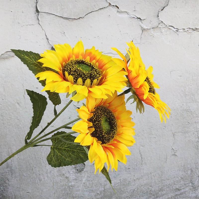 3 Heads Sunflower Artificial Flowers Bouquet Home Wedding Decor DIY Crafts yellow_63cm