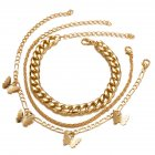 3 Pcs set Ankle Chain Set Butterfly shape Pendant Multi layer Anklet Chain Set Golden