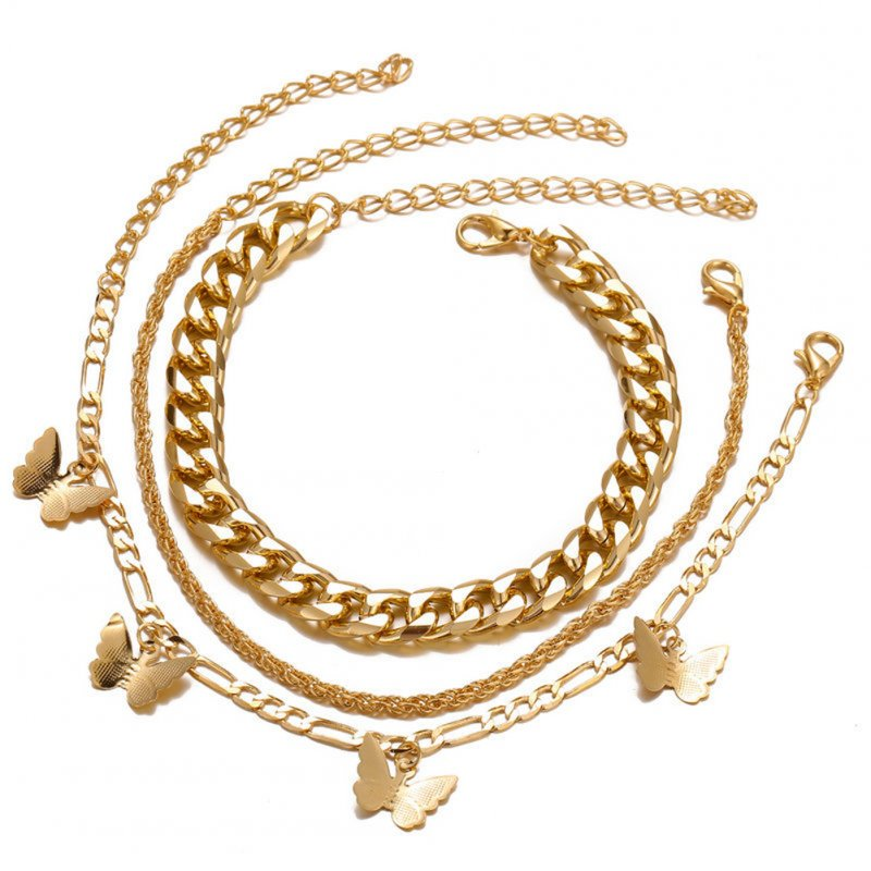 3 Pcs/set Ankle Chain Set Butterfly-shape Pendant Multi-layer Anklet Chain Set Golden