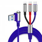 3 in 1 Angle Head 1.2M USB Cable Charging Type-C+Micro+8 Pin Data Cable for Smartphone blue