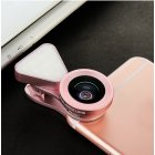 3 in 1 LED Selfie Flash Light Beauty Phone Lens Fill Light 0.4-0.6X Wide Angle 10X Macro Lens Rose gold