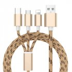 3 in 1 USB Fast Charging Cable Gold