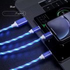 3-in-1 USB to Micro USB Type-C Lighting 2A LED Fast Charging Data Cable Adapter for Mobile Phones blue
