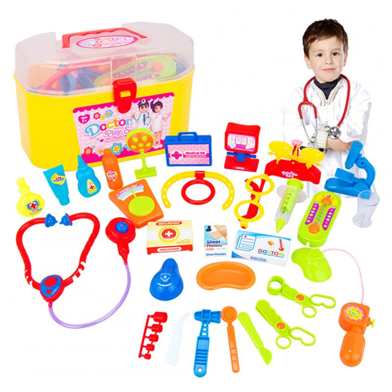 [US Direct] 30 Pcs Doctor Nurse Medical Kit Children Role-playing Doctor Toy Suit with Carrying Case for Boys and Girls