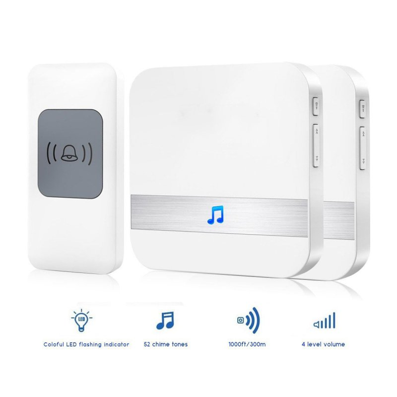 300M Waterproof Electronic Smart Home Wireless Doorbell 52 Songs Chime Door Bell Europeanplug 2 * receiver+1 * button