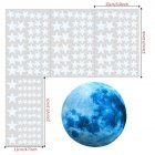 30cm Blue Moon 435pcs Blue Luminous Moon Star Sticker 166pcs Star Decal Decoration 166pcs