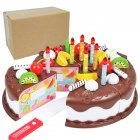 37pcs/Sets Funny Toys Birthday Cake DIY Model Children Kids Early Educational Pretend Play Kitchen Food Plastic Toys [37 sets] chocolate / express box 190g