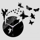 Mirror Wall Clock with Home Wall Stickers