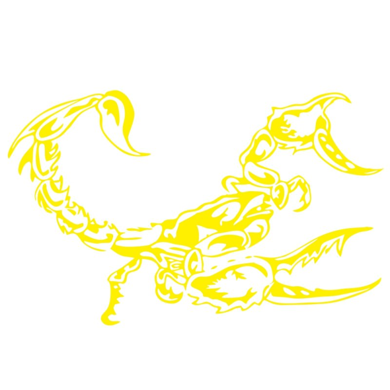 3D Car Scorpion Stickers Stylized Vinyl Car Stickers Decoration Accessories yellow