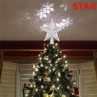 3D Glitter Lighted Star Tree Topper with Rotating Magic Projector Light Christmas Decoration Silver Silver blizzard_U.S. plug