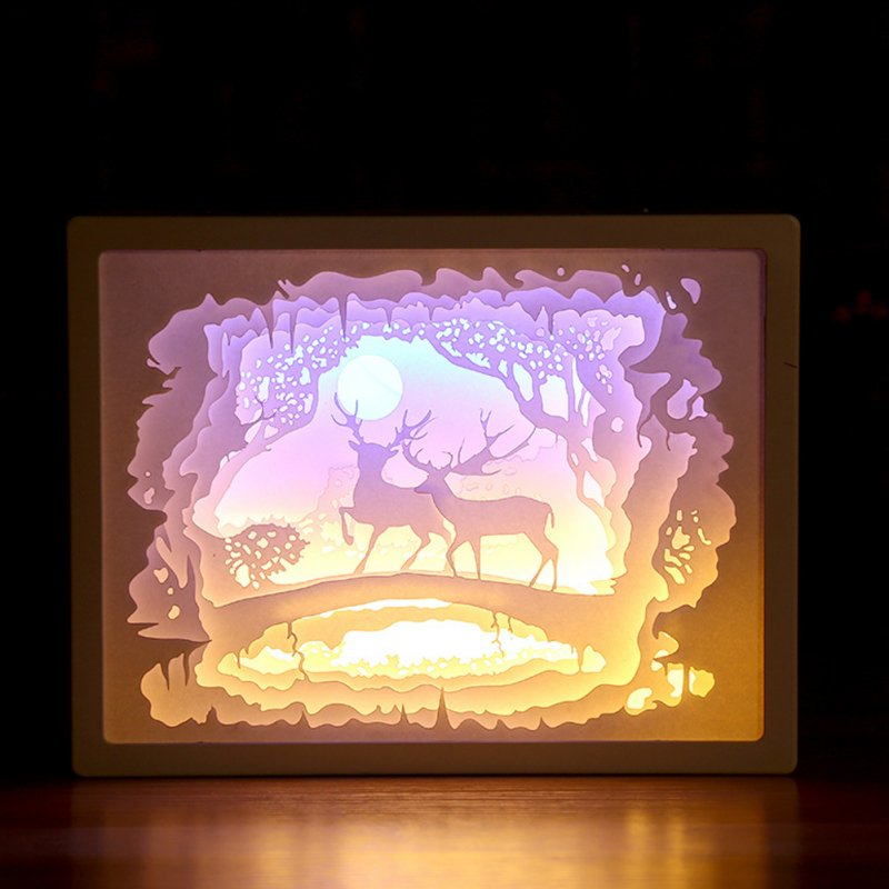 3D Paper Carving Night Lights Battery Power Supply LED Table Lamp Christmas Halloween Carved Decor Lamp Birthday Gifts Double Christmas deer
