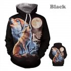 3D Wolf Howl Moon Printing Hooded Sweatshirts Baseball Uniform for Men Women Lovers black_L