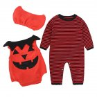 3PCS Children's Halloween Performance Costume Baby Pumpkin Jumpsuit + Hat  HY2357R red stripes_90