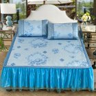 3Pcs/Set Detachable Foldable Sleeping Mat with Zipper Jacquard Pillow Case Set  blue