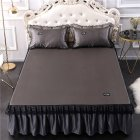 3Pcs/Set Lace Bed Skirt Summer Sleeping Mat+Pillow Case Set for Home Decor Gray