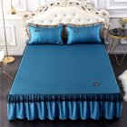 3Pcs/Set Lace Bed Skirt Summer Sleeping Mat+Pillow Case Set for Home Decor Blue