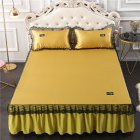 3Pcs/Set Lace Bed Skirt Summer Sleeping Mat+Pillow Case Set for Home Decor Champagne yellow