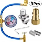 3Pcs Set R134a Inflation Hose with Gauge BPV31 Valve R12 to R134a Conversion Kit