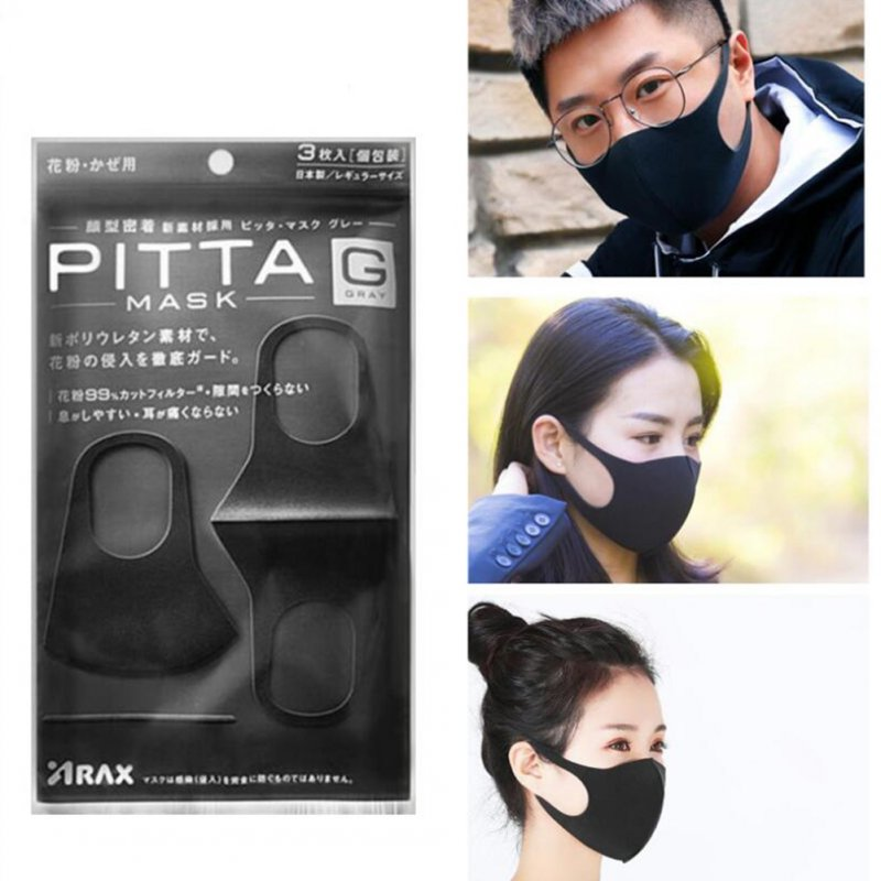 3pcs PITTA 3D Dust-proof Anti-fog PM2.5 Sponge Mask Protective Face Guard for Adult Kids Adult-black