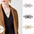 3pcs/set Women Sweater Brooch Lady Flower Pattern Cardigan Dress Shawl Clip Delicate Gift for Girlfriend gold+silver+black