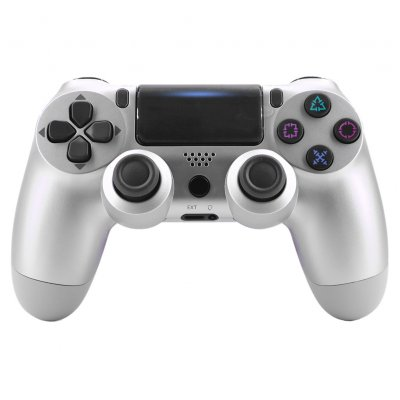4.0 Wireless Bluetooth Controller Gamepad with Light Strip for PS4 Silver