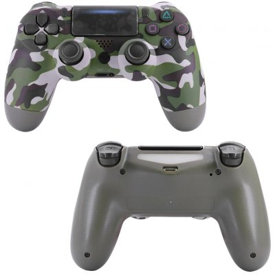 4.0 Wireless Bluetooth Controller Gamepad with Light Strip for PS4 Green camouflage