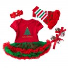 4 Pcs/set  Baby Short-sleeve Dress + Headwear + Socks+ Shoes for 0-2 Years Old Kids 1_73