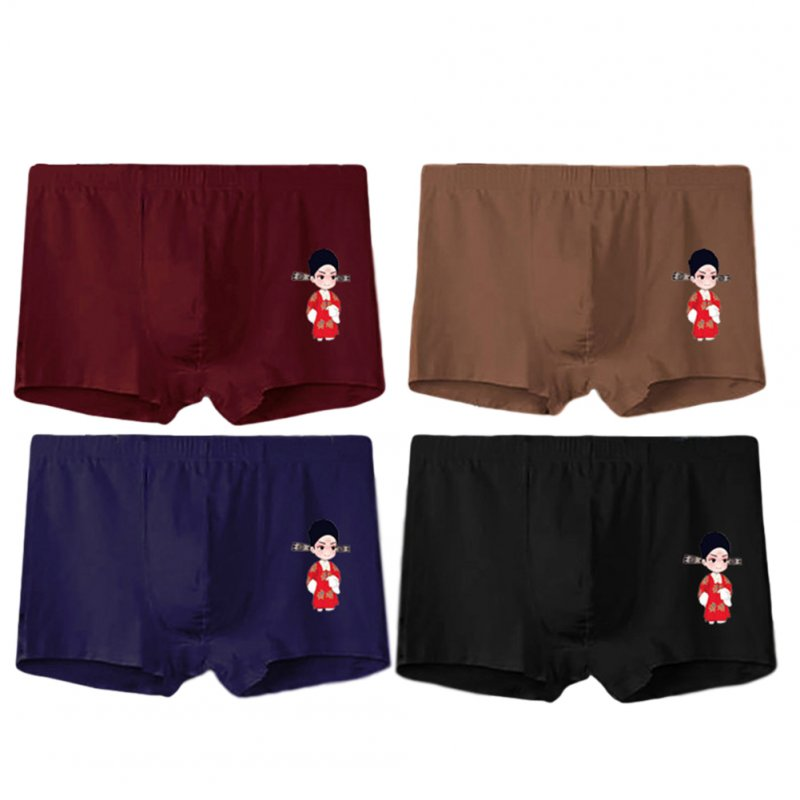 4 Pcs/set Men's Panties Boxer Mid-rise Breathable Youth Boxer Shorts nns0008_L