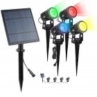4 in 1 Solar Powered Spotlight Outdoor Waterproof High Bright Landscape Patio Garden Lawn Lamp RGB + fixed color